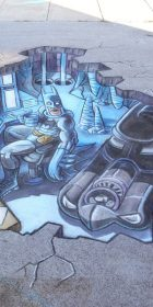 Chalk Art 3D Batcave, Batman and Batmobile by Eric Maruscak