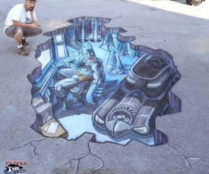 Chalk Art 3D Batcave with Batman and Batmobile