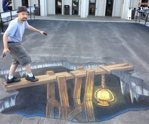 Chalk Art 3D Mine Shaft