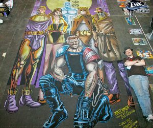 Chalk art of Watchmen by Alan Moore and Dave Gibbons at the New York Comic Con