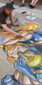 Progress on Joe Madureira chalk art Wolverine