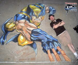 Joe Madureira chalk art Wolverine from the X-Men