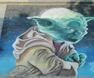 Chalk Art Yoda for Julyfest Street Painting