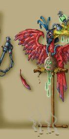 evil nazi bird creature illustration