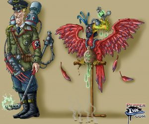 evil nazi bird creature illustration