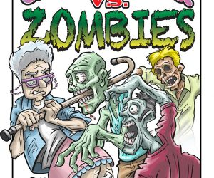 grandma vs zombies cover cartoon